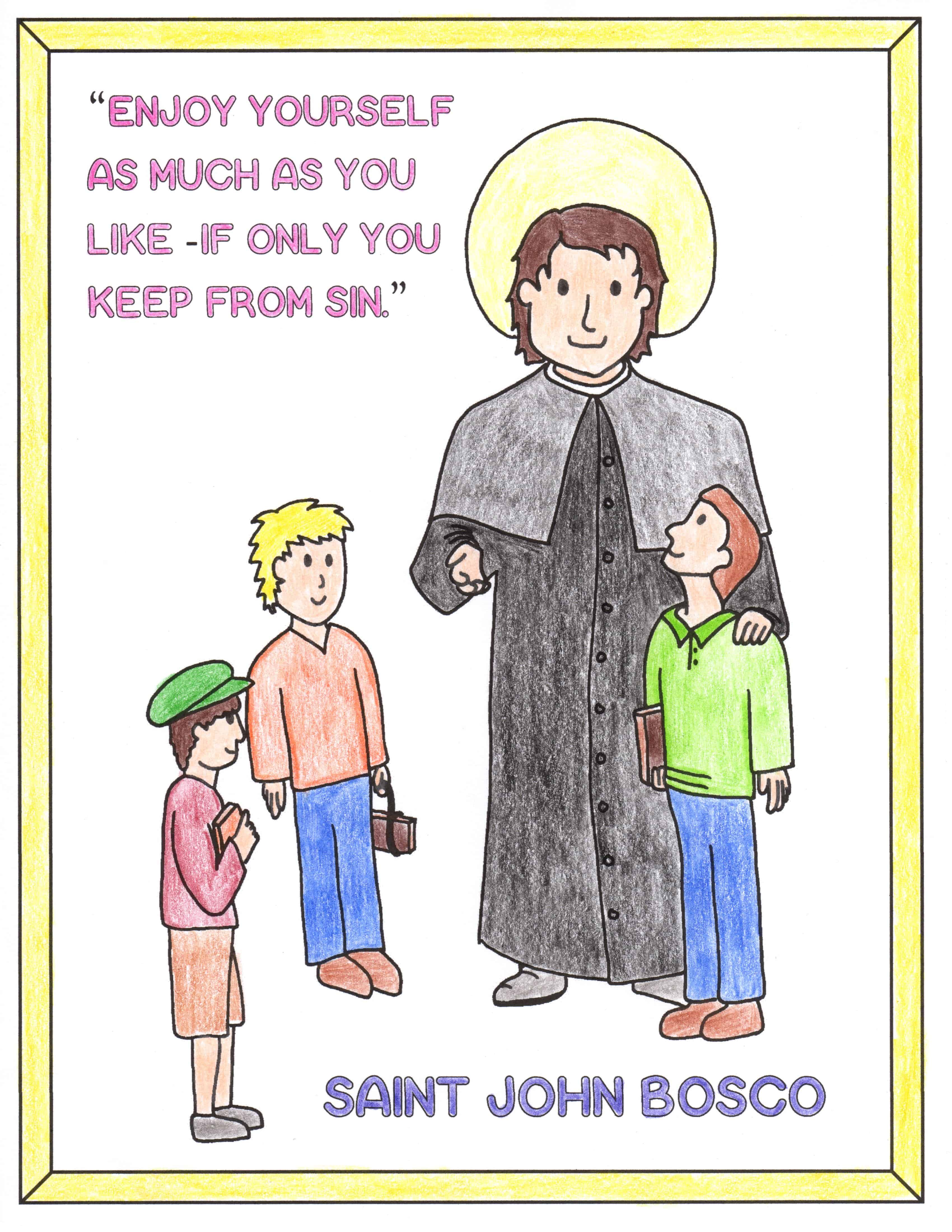 Saint John Bosco Coloring Page Printable