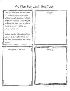 Planning for Lent Doodle-style printable from Real Life at Home