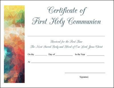 free printable baptism first communion and confirmation certificates 4 designs for each