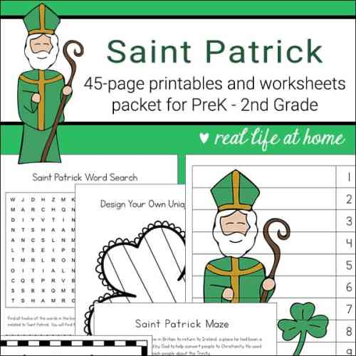 Saint Patrick Printables, Activities, and Worksheets - The Saint Patrick Printables Packet is a 45-page learning packet all about St. Patrick