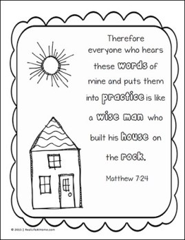 Matthew 7:24 Coloring Page from the free Scripture Coloring Page Set on Real Life at Home
