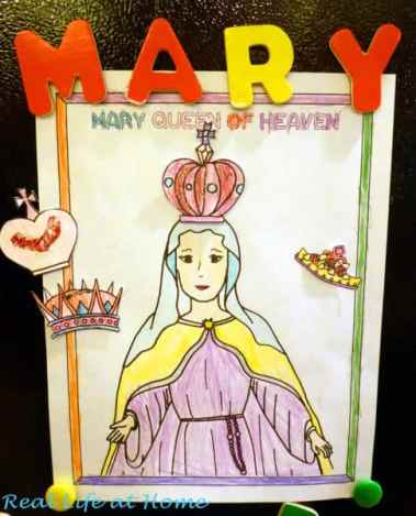 Mary Queen of Heaven Free Printable Activity (Can Be Used as Refrigerator Magnet Activity!) | RealLifeAtHome.com