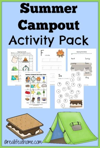 FREE 23 page Summer Campout Printables Activity Pack | reallifeathome.com