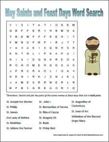 May Saints and Feast Days Word Search Free Printable | RealLifeAtHome.com