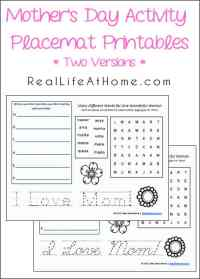 Free Printable Mother's Day Activity Placemats with Two Versions (Cursive and Printing) | RealLifeAtHome.com
