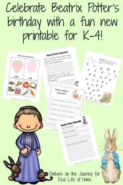 Celebrate Beatrix Potter's birthday with a free Beatrix Potter printables set for K-4. | reallifeathome.com
