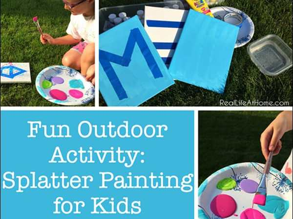 Outdoor Splatter Painting for Kids (Fun Outdoor Painting Activity)