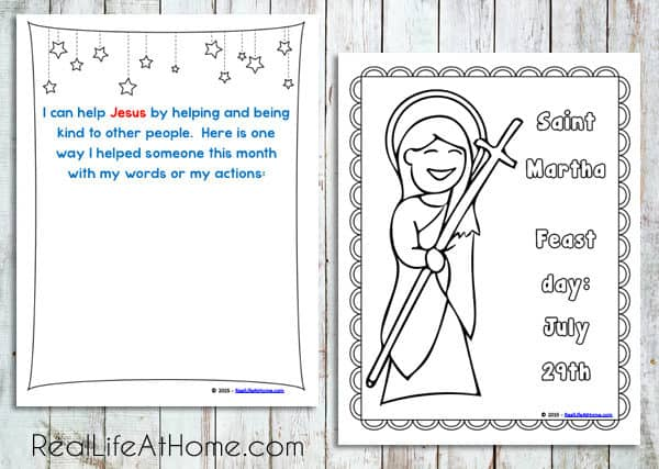Saint Coloring Page and Helping Jesus Page from Daily Learning Notebook and Calendar Printables Packet
