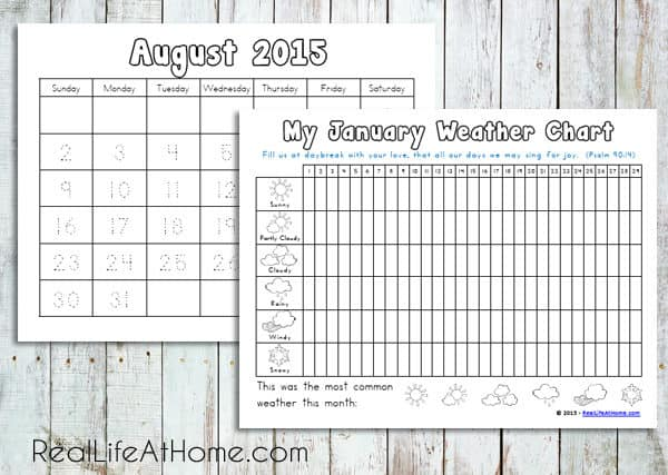 Calendar Pages from the Daily Learning and Calendar Printables Packet