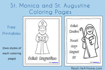 Free Coloring Pages featuring Saint Monica and Saint Augustine   RealLifeAtHome.com