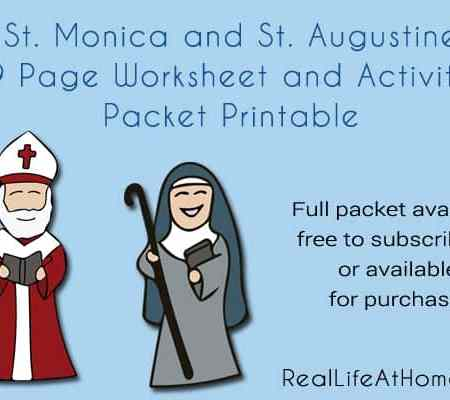 Saint Augustine and Saint Monica 29 page worksheets and printables packet