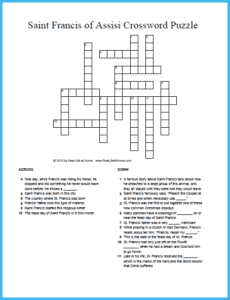 Free Printable Saint Francis of Assisi Crossword Puzzle {Includes two versions with one having a word bank to make it easier} | RealLifeAtHome.com