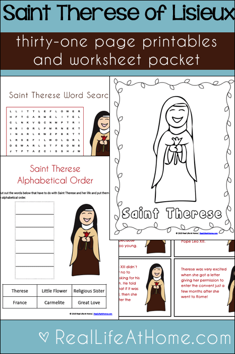 Saint Therese Printables and Worksheet Packet for Kids {31 page packet all about St. Therese of Lisieux}
