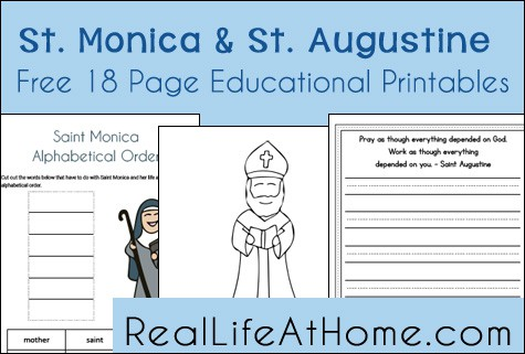Saint Monica and Saint Augustine Educational Printables and Worksheets