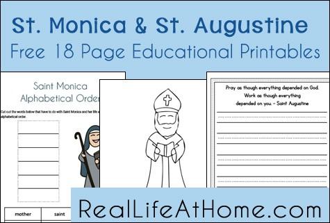 Saint Monica and Saint Augustine Educational Printables