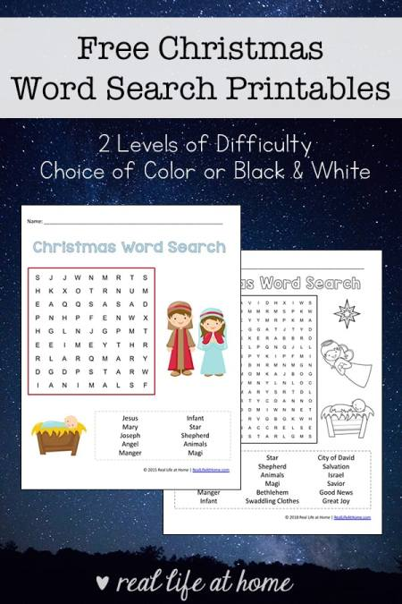 Free Printable Religious Christmas Word Search Printable for Kids (two levels of difficulty, available in black and white and color) | Real Life at Home