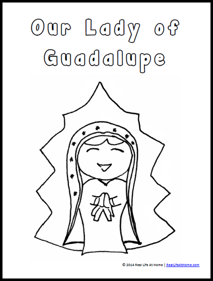 our lady of guadalupe coloring page free printable and our lady of guadalupe activities
