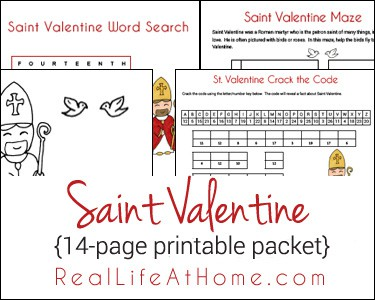 Saint Valentine Printables and Worksheet Packet