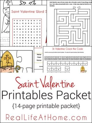 Saint Valentine Printable Packet and Worksheets