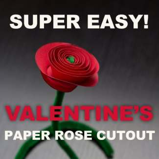 Valentine Rose Paper Cutout Craft {Free Printable and Step-by-Step Directions}