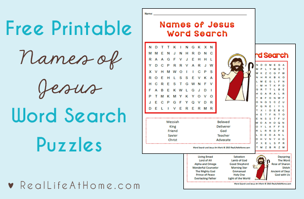 Names of Jesus Word Search Free Printables