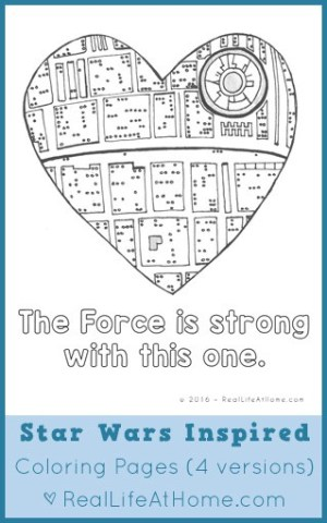 Free Printable Star Wars Inspired Coloring Pages (Plus Downloadable Star Wars Valentines or Star Wars Lunchbox Notes)