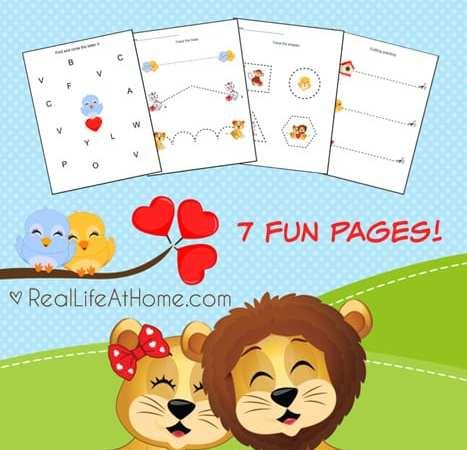 Valentine Animals: Free Preschool Printables Packet