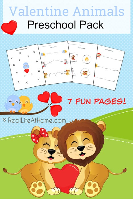 Free Printable Valentine Animals Preschool Packet {7 Fun Pages}