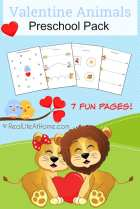 Valentine (Love) Animals Preschool Printable Packet