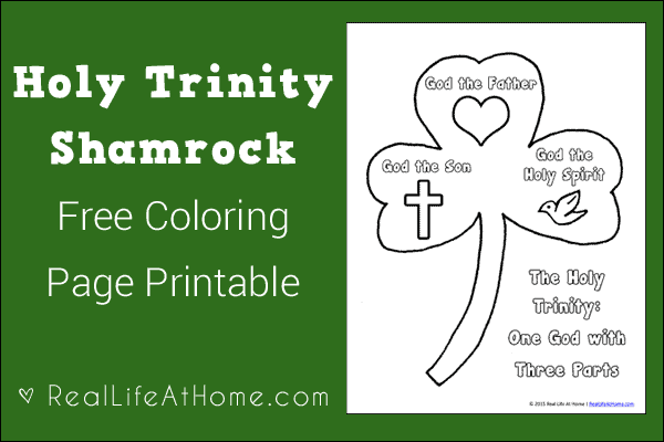 Holy Trinity Shamrock Coloring Page Printable