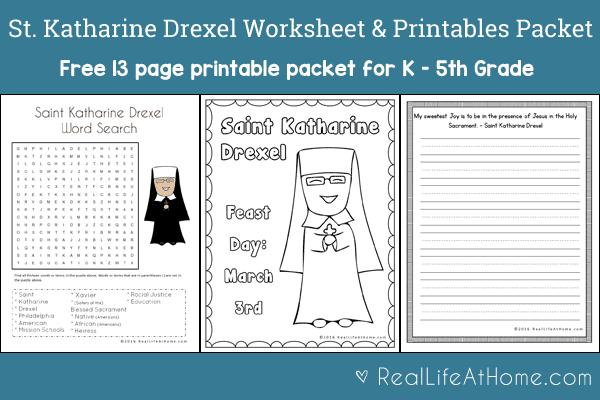 Saint Katharine Drexel Printables and Worksheet Packet