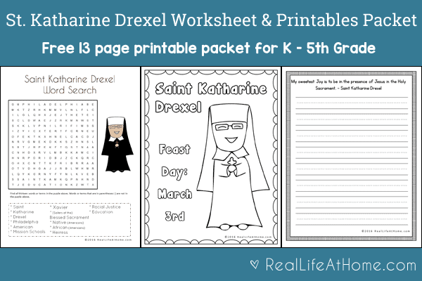 Saint Katharine Drexel Printables and Worksheet Packet