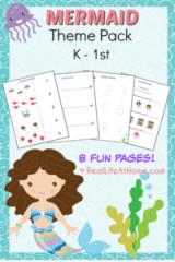 Mermaid Printables Packet for Preschool and Kindergarten
