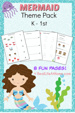 Free Eight Page Printable Packet for Preschool and Kindergarten with a Mermaids Theme