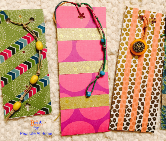 An easy craft for kids: DIY bookmarks using washi tape, beads, button, and more!