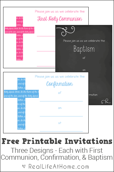 first communion baptism and confirmation invitations free printables