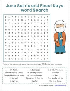 Free word search printable featuring June saints and feast days perfect for Catholic kids. Use as a standalone activity or try the suggested follow up activities as well.