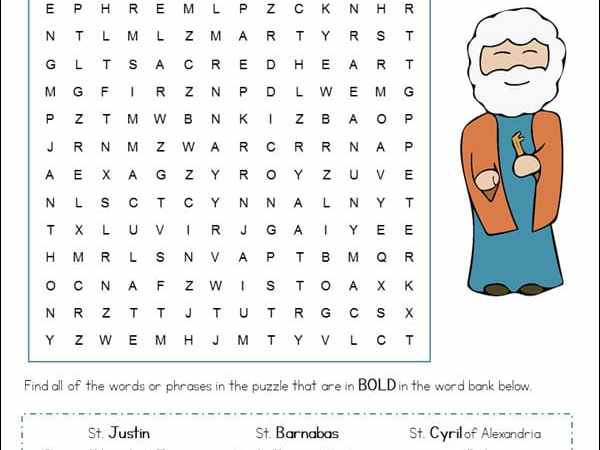June Saints and Feast Days Word Search
