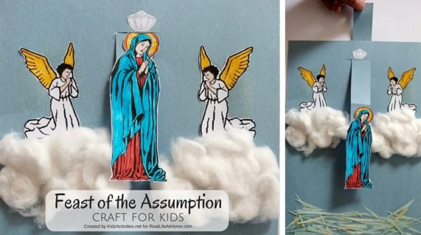 Celebrating the Feast of the Assumption? Here is a fun Feast of the Assumption Craft with Free Printable (instant download, no opt in)