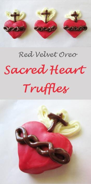 Easy to make Sacred Heart Oreo Truffles - These are perfect for celebrating the Feast of the Sacred Heart of Jesus (or for the month of June, which is dedicated to the Sacred Heart of Jesus). These are easily modified to be Immaculate Heart Truffles.