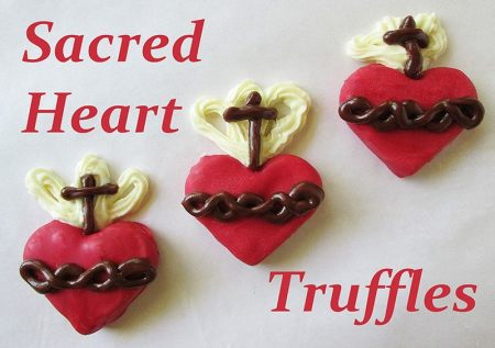 Easy to make Sacred Heart Truffles - These are perfect for celebrating the Feast of the Sacred Heart of Jesus (or for the month of June, which is dedicated to the Sacred Heart of Jesus). These are easily modified to be Immaculate Heart Truffles.