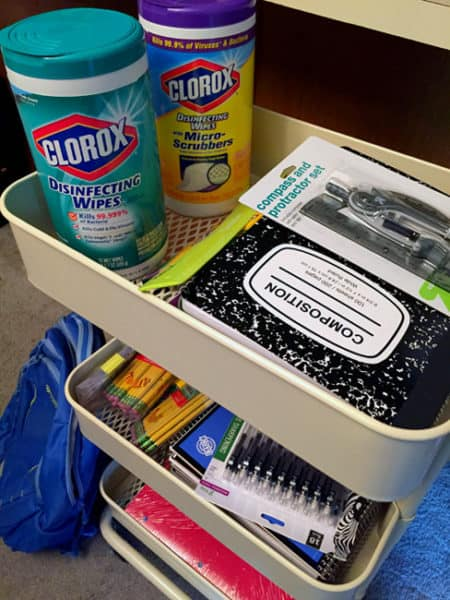 Our back-to-school supplies, including Clorox Disinfecting Wipes to help keep kids healthy this school year!