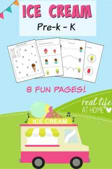 Ice cream printables packet perfect for preschool featuring line tracing, number tracing, letter recognition, visual discrimination, and cutting practice.