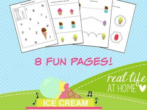 Ice Cream Printables Packet for Preschoolers