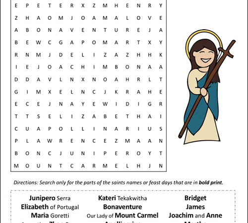 July Saints and Feast Days Word Search