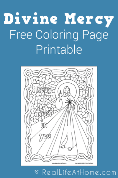 Divine Mercy Coloring Page Free Printable Real Life at Home