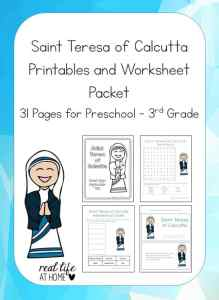Studying about Saint Teresa of Calcutta (Mother Teresa)? Celebrating her canonization? Check out this 31-page Saint Teresa of Calcutta Printable Packet