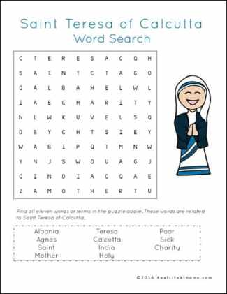 Saint Teresa of Calcutta (Mother Teresa) Word Find