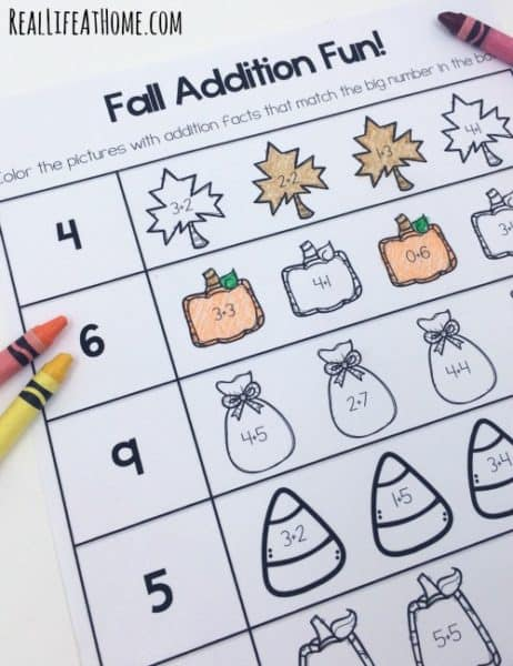 grab this cute set of early math printable pages for fall this set covers counting