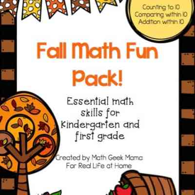 Grab this cute set of early math printable pages for Fall! This set covers counting, comparing and adding numbers within 10. Plus, all pages are black and white for easy printing!